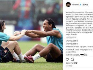 Messi laskavý pozdrav Ronaldinho